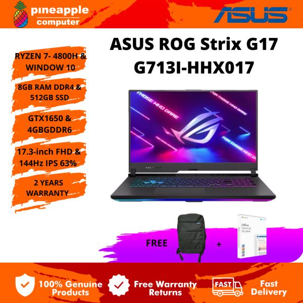 Asus ROG Strix G17 G713I-HHX017 17.3FHD 144Hz Gaming Laptop (R7-4800H/8GBRAM/512GBSSD/GTX1650-4GB/Win10/2Y) Malaysia