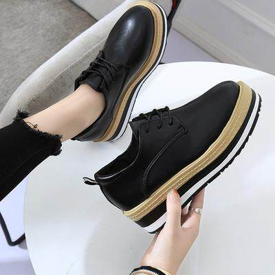 817fa70bda8 Women Korean Fashion Muffin Bottom Casual Flat College Shoes
