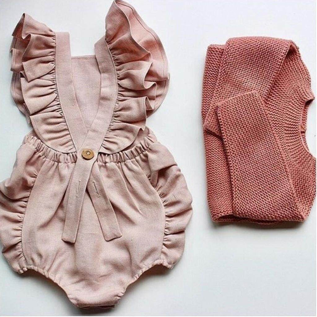 756a3f788d5ad Rayeshop Summer Newborn Baby Boys Girls Ruffle Solid Romper Bodysuit Jumpsuit  Clothes【Reference size chart