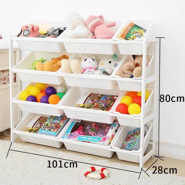 RuYiYu - 101X28X80cm, Kids Toy Organizer and Storage Bins, 12-Bins in Fun Colors, Toy Storage Rack, Natural/Primary