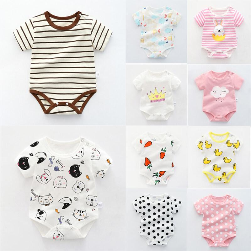 Bộ áo liền quần tay ngắn làm bằng vải cotton 100% in hình hoạt hình dành cho trẻ sơ sinh từ 0-3 tuổi - INTL