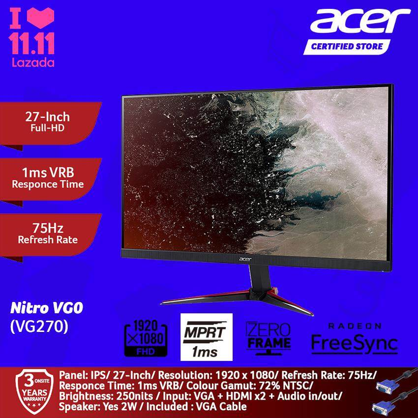 Acer 27-Inch Nitro VG270 IPS Gaming Full-HD 1ms Monitor UM.HV0SM.003 - Black Malaysia