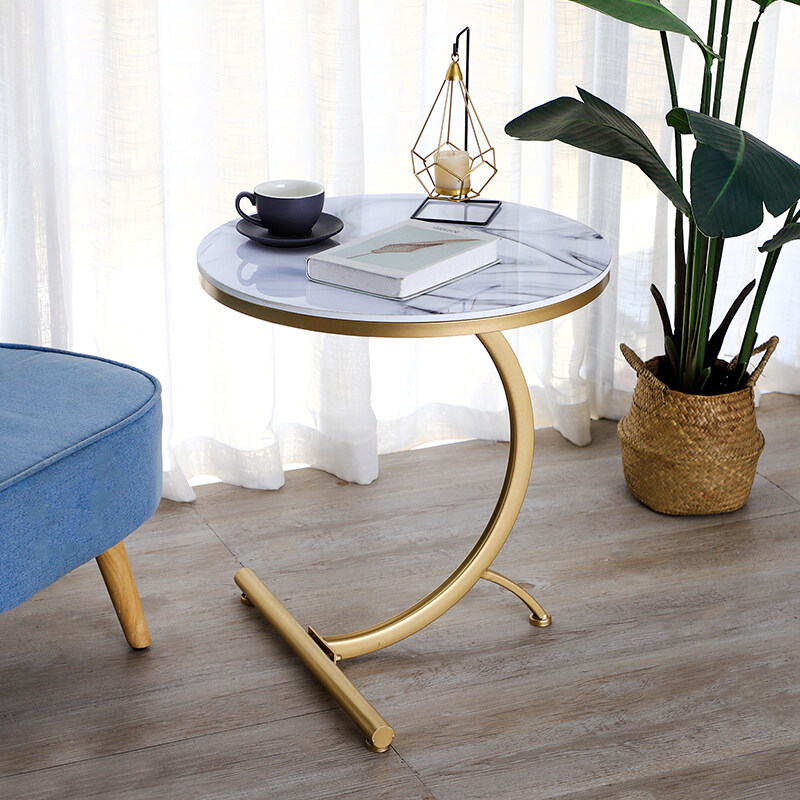 Iron small coffee table, simple modern living room sofa with marble table, corner round table