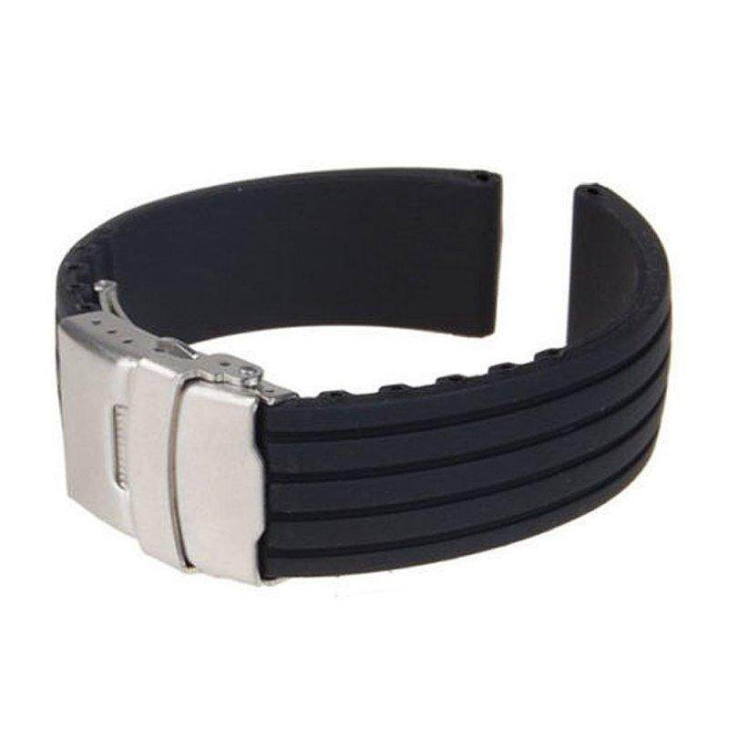 18/ 20/22/24mm  Watch Band Strap Folding Clasp Soft Silicone Wristband Wristwatch Bands Replacement Accessories Malaysia