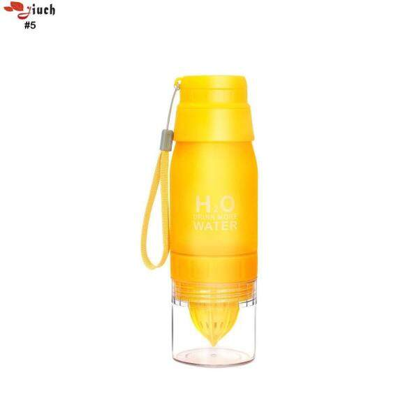 Jiuch Ultra-Durable Anti-Drop High Efficiency Spiral Extrusion Stainless Steel Health Bottle Scrub Sand Lemon Mother Cup Plastic Cover Cup - 650ML