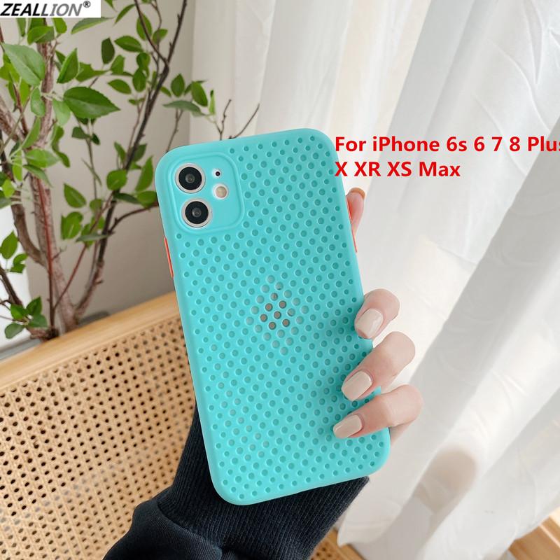Zeallion Ốp lưng điện thoại bằng silicon mềm dạng lưới thoáng khí, chống sốc, dành cho iPhone 6 6S 7...