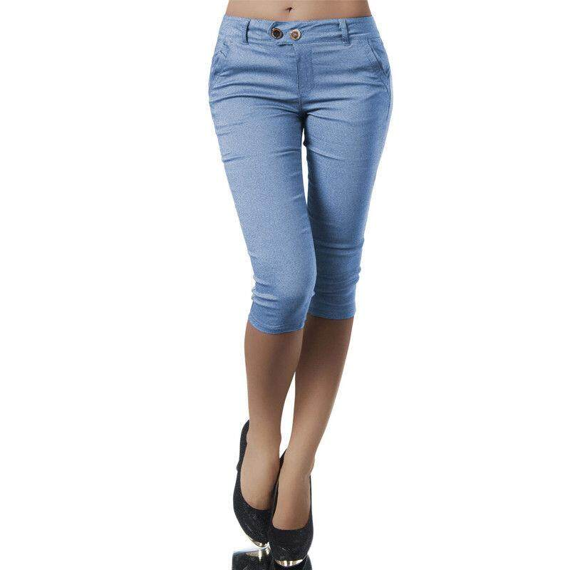 NEW 3//4 LADIES WOMENS HALF ELASTICATED WAIST CROPPED TROUSERS WITH POCKETS 12-24
