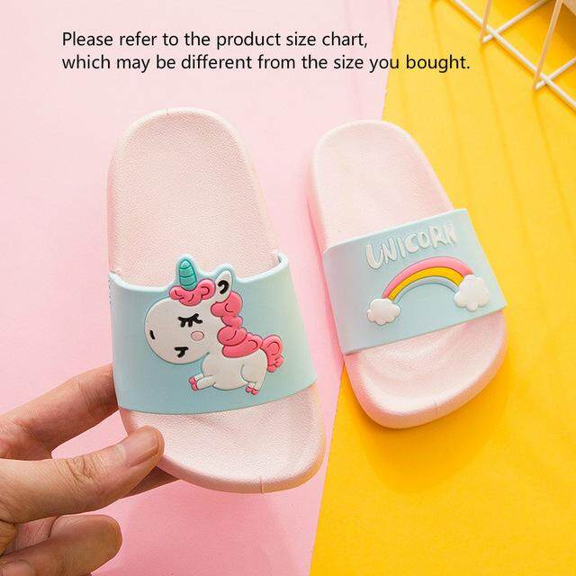 edad668c3 Children's slippers Boy girl unicorn shoes Rainbow slippers kids anti-skid  indoor baby Slippers PVC
