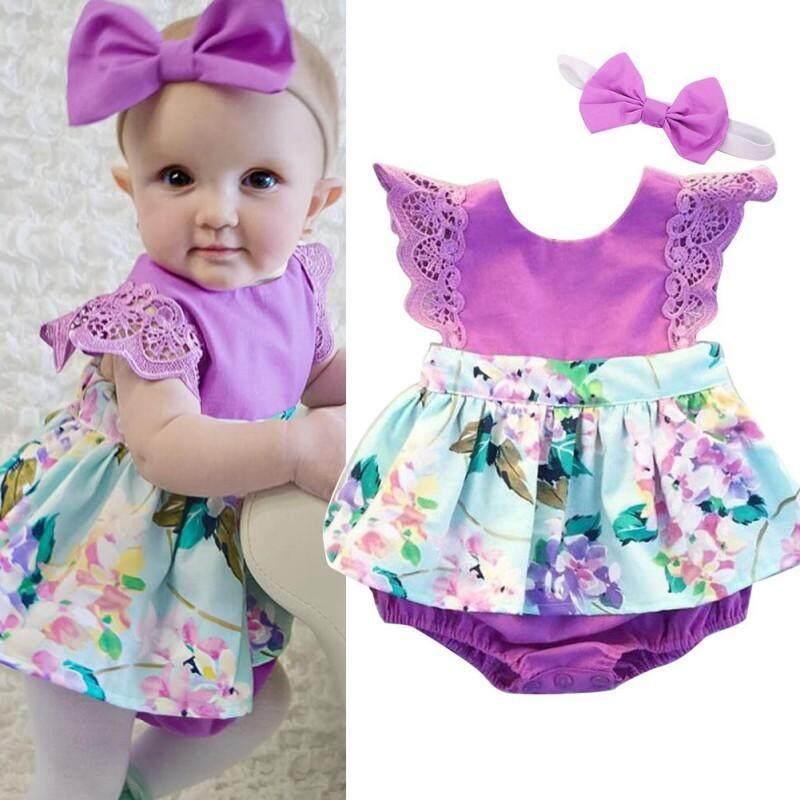 ac9b0cf9f21f7 New Newborn Infant Babys Girls Floral Cotton Cute Bodysuit Clothes