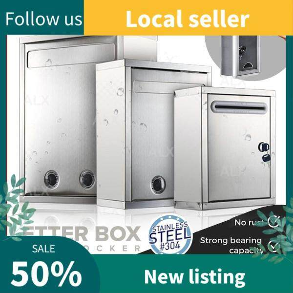 ALX 304 Stainless Steel Home Mailbox Waterproof Letter Box Key Lock Outdoor Post Newspaper Office Pos Peti Surat 信箱
