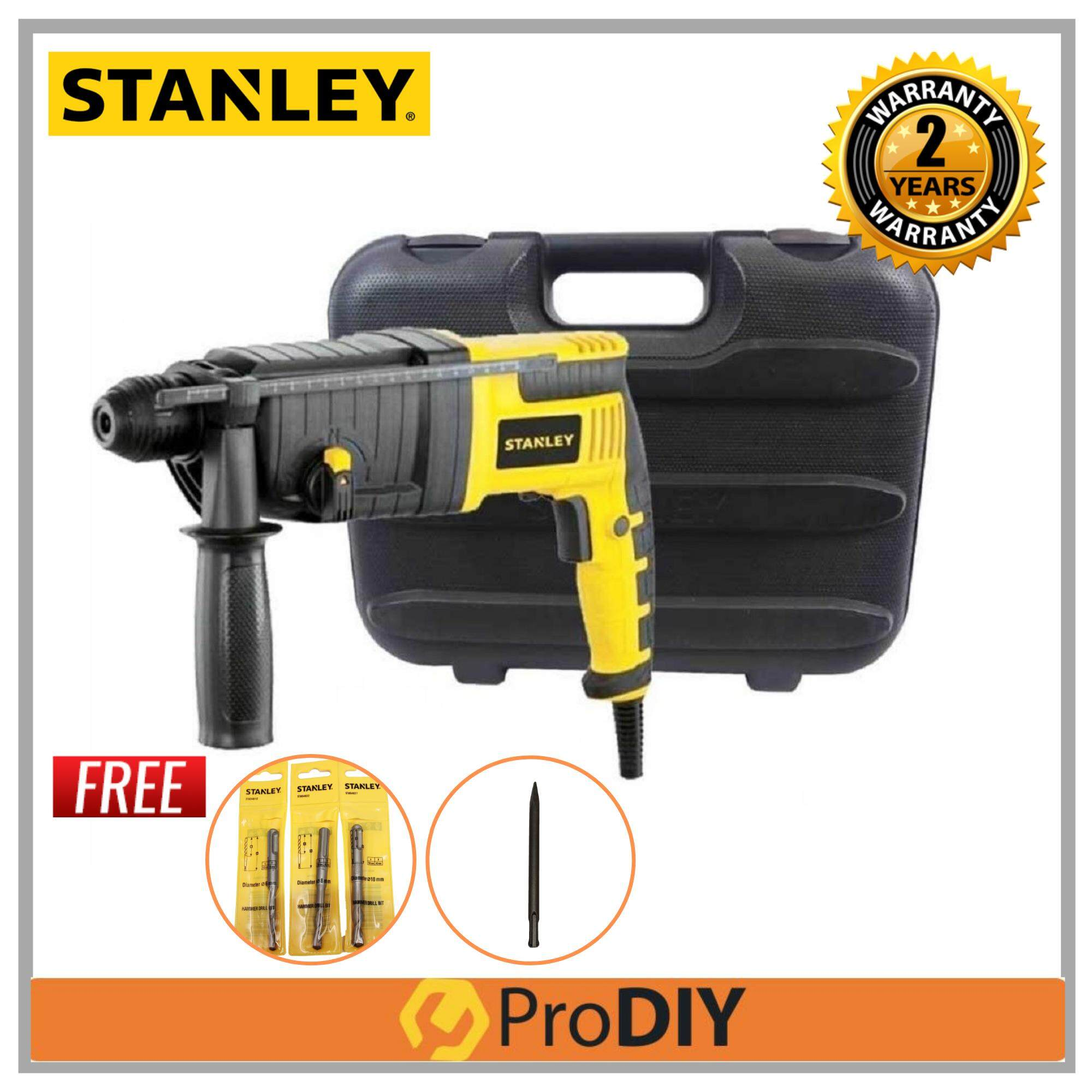 STANLEY STEL503K 720W 22MM Rotary Hammer 3 Mode FOC 3Pcs STANLEY Hammer Drill Bit + 1 Pcs Moil Point