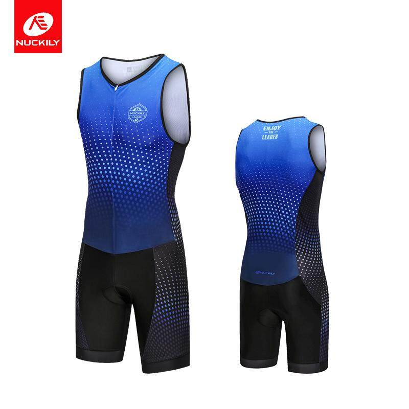 NUCKILY Blue Triathlon Suit Short Sleeve Cycling Clothing Men Bicycle Jersyey Wear Running Swimming Apparel