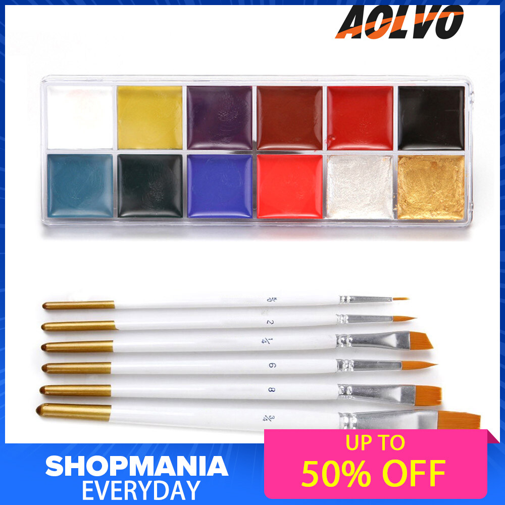 FlyUpward Professional Facepainting Kit for Kids & Adults,Cosplay Body Paints Set 12Colors Face Body Painting Palette 6PCS Makeup Brushes for Halloween Festival