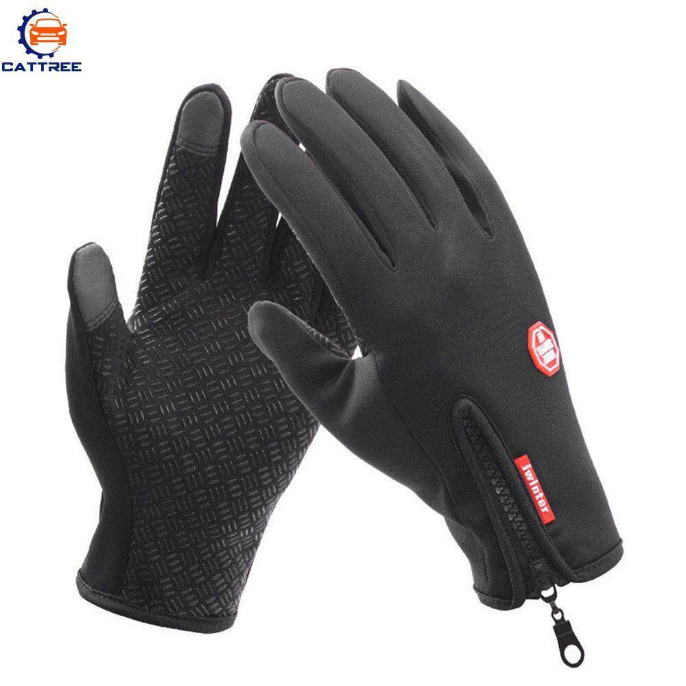 Cattree Riding Gloves Zipper Leather Gloves Motorcycle Gloves Thickening Different Sizes PU Black Touch Screen Wear-Resistant Non-Slip Keep Warm Waterproof