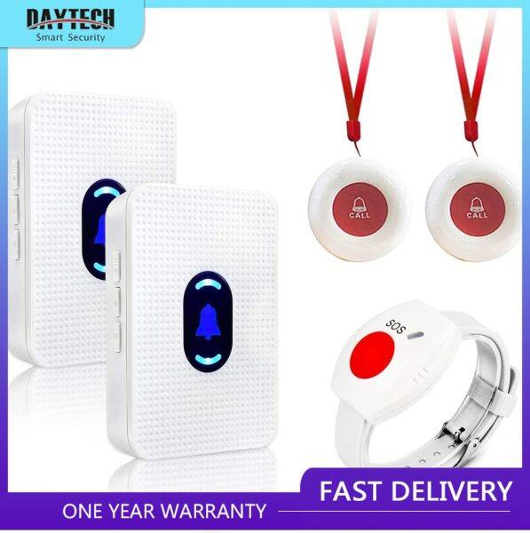 DAYTECH Calling System Pager Wireless Caregiver Pager Call Button for Elderly Home Alert Pager for Seniors Patient Nurse Help Button 2 Receiver & 3 Panic Emergency Button LC01