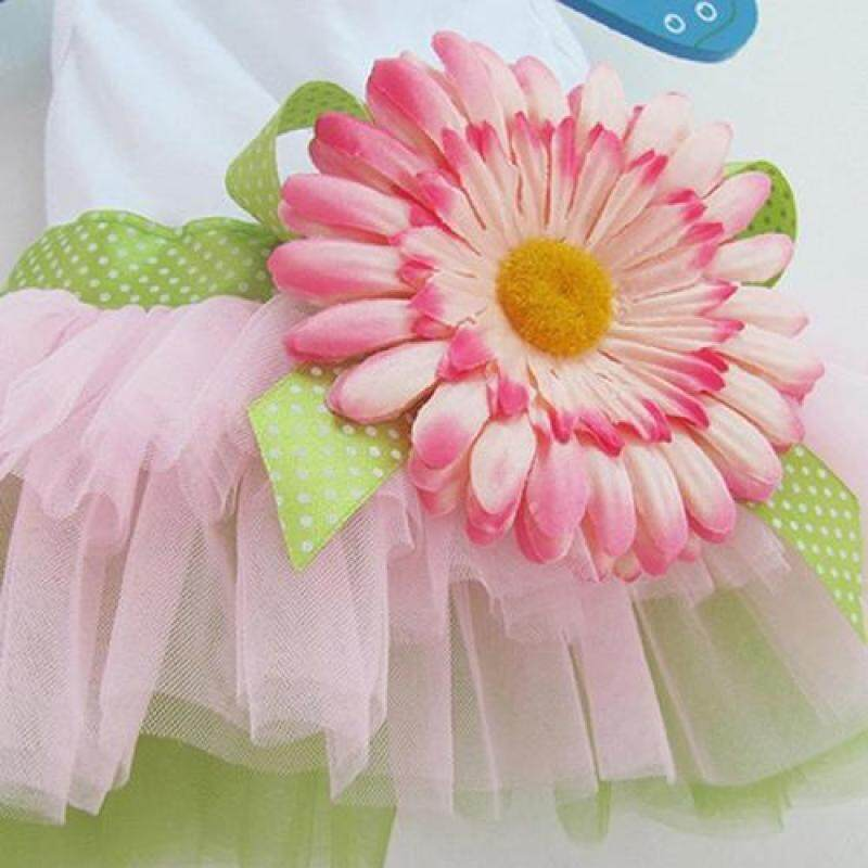 Huanhuang®Họa Tiết Cún Cưng Hoa Cúc Đầm Xòe Lưới Dệt Váy Con Chó Con Nơ Đeo Cho Mèo Trang Phục Công Chúa