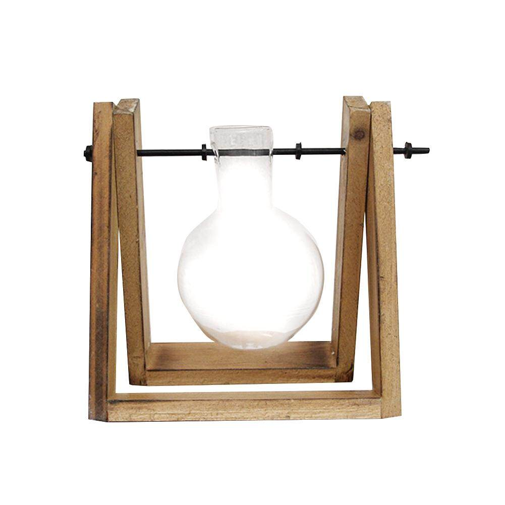 Bulb Office Home Hydroponics Plants Solid Wood Vintage Gift Decoration Glass Vase