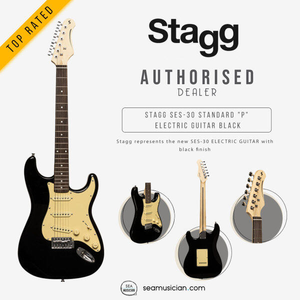 STAGG SES-30 BK STANDARD S ELECTRIC GUITAR COLOR BLACK ( SBP30 STANDARD P SERIES/ STAGG ELECT GUITARS/ SEAMUSICIAN) Malaysia