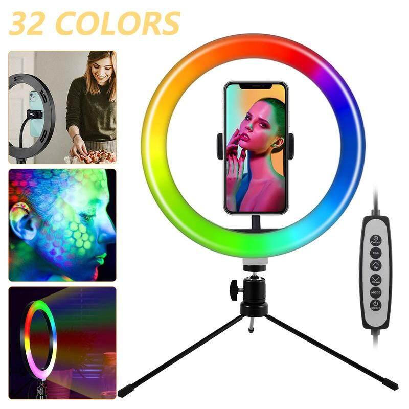 Đa Chức Năng Vòng Ánh Sáng Vòng Đèn Led Rgb 10 Inch Xoay 360 Độ Có Thể Điều Khiển Bằng USB & Chân Đế, Cho Youtube Tiktok Trang Điểm Video Điện Thoại Ảnh Tự Sướng Vật Liệu Chất Lượng Cao Mới Vật Liệu ABS + Sắt