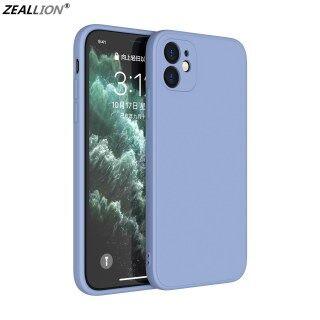 Zeallion Cho [Apple iPhone 6 6S 7 8 Plus X XR XS 11 12 Mini Pro Max SE 2020] Ốp Lưng Điện Thoại Silicon Lỏng Màu Trơn Cạnh Thẳng Hình Khối Ốp Lưng Bảo Vệ Ống Kính Bao Gồm Tất Cả thumbnail