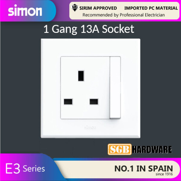 Switch Socket 1 Gang 13A Socket Outlet E3 Simon Sirim Approved (White/ Silver)