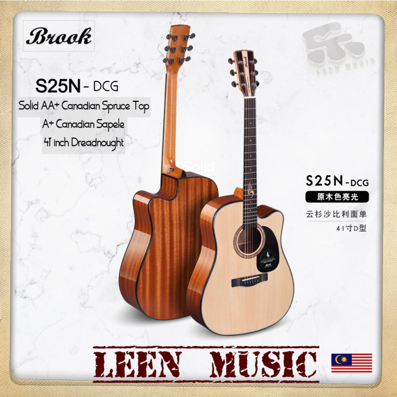 Brook S25-DCG Acoustic Guitar - Solid AA+ Canada Spruce Top Good Handcrafted 41 Dreadnought Good Quality - Leen Music Malaysia