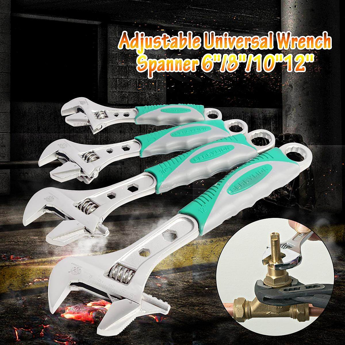 【Free Shipping + Super Deal + Limited Offer】BERRYLION Adjustable Universal Wrench Spanner 6/8/10/12Inch Wrench Set 6/8/10/12 inch