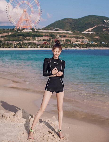 Nơi bán Hai Mảnh Đồ Bơi Đồ Bơi Nữ Cạp Cao Bộ Đồ Chống Nắng Dài Tay, Đồ Tắm Nữ Hàn Quốc, 2038