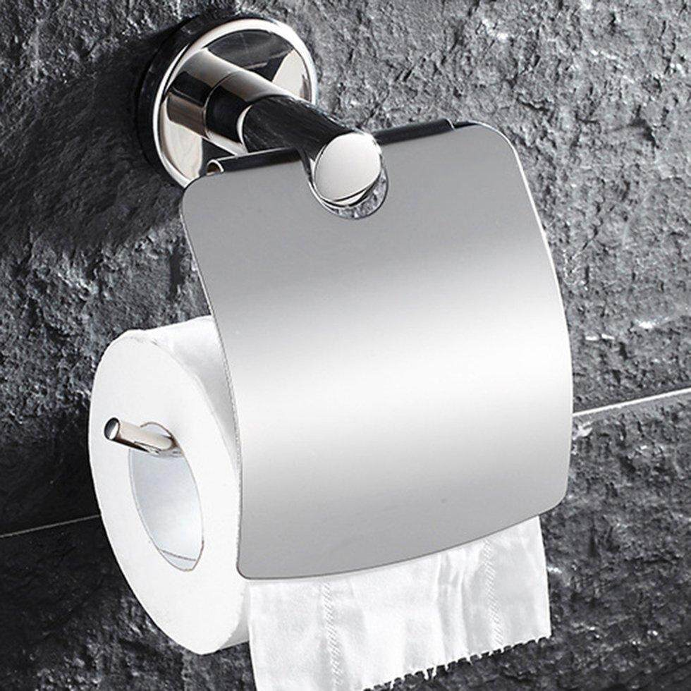 GOFT Multifunctional Stainless Steel Anti-rust Rolled Tissue Holder Kitchen Bathroom Toilet Roll Paper Towel Rack Hanging Holder