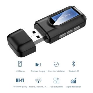 Bộ Chuyển Đổi Không Dây 3.5Mm AUX Bluetooth 5.0, Bộ Thu Phát Nhạc USB Bluetooth Màn Hình LCD Cho PC T V Xe Hơi Bộ Chuyển Đổi AUX thumbnail