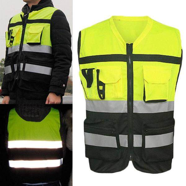 【Work Tops & Shirts】Hi-Vis Safety Vest Reflective Driving Jacket Worker Night Security Waistcoat Kit