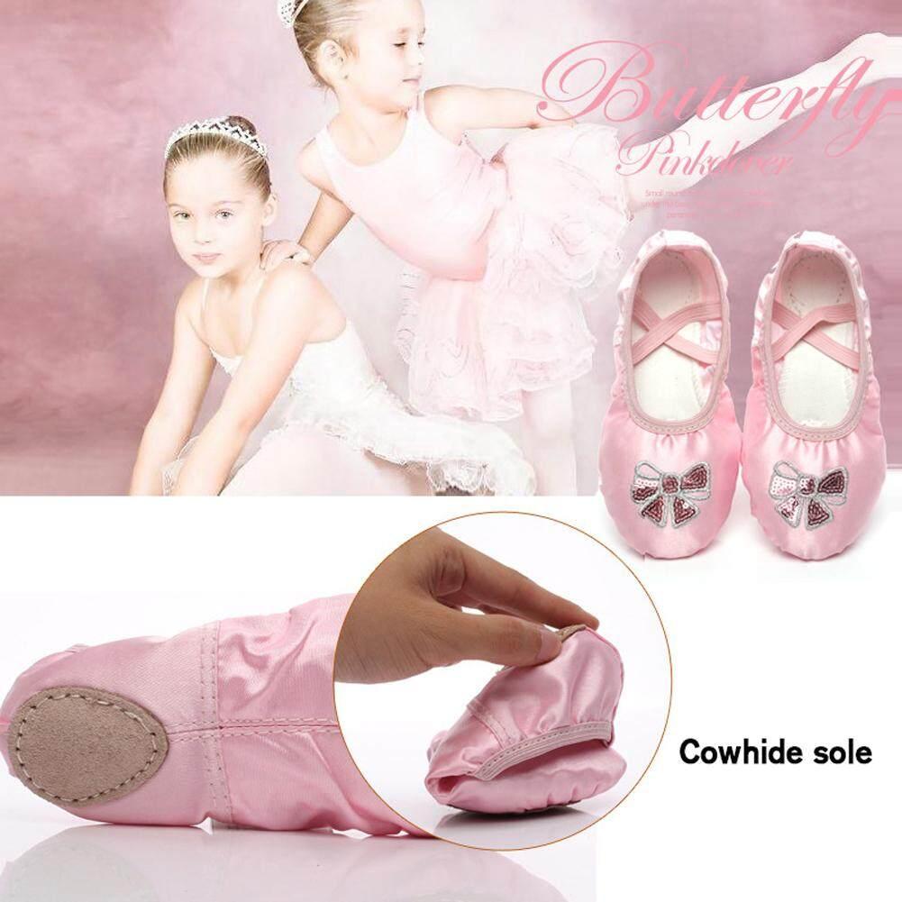 Mã Tiết Kiệm Để Mua Sắm Bé Gái Ballet Flat Giày Khiêu Vũ Mềm Full Chia Đế Nơ Hồng