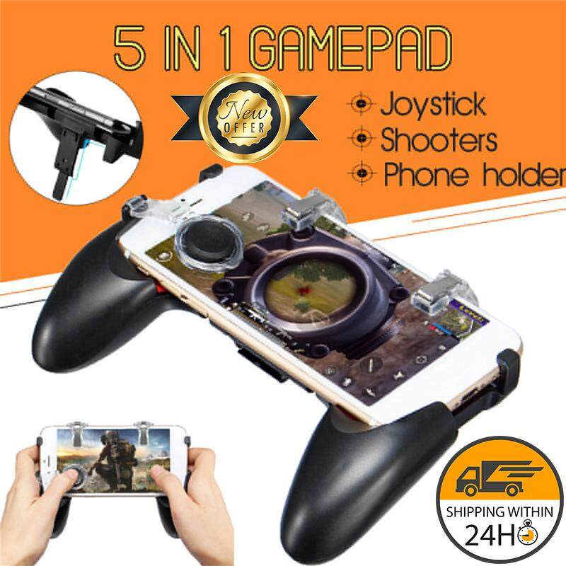 5 In 1 Mobile Game Foldable Gamepad + Press Fires Shooter + Blocking Joystick Quick Response For Pubg For Mobile Smart Phone By Peedimall.