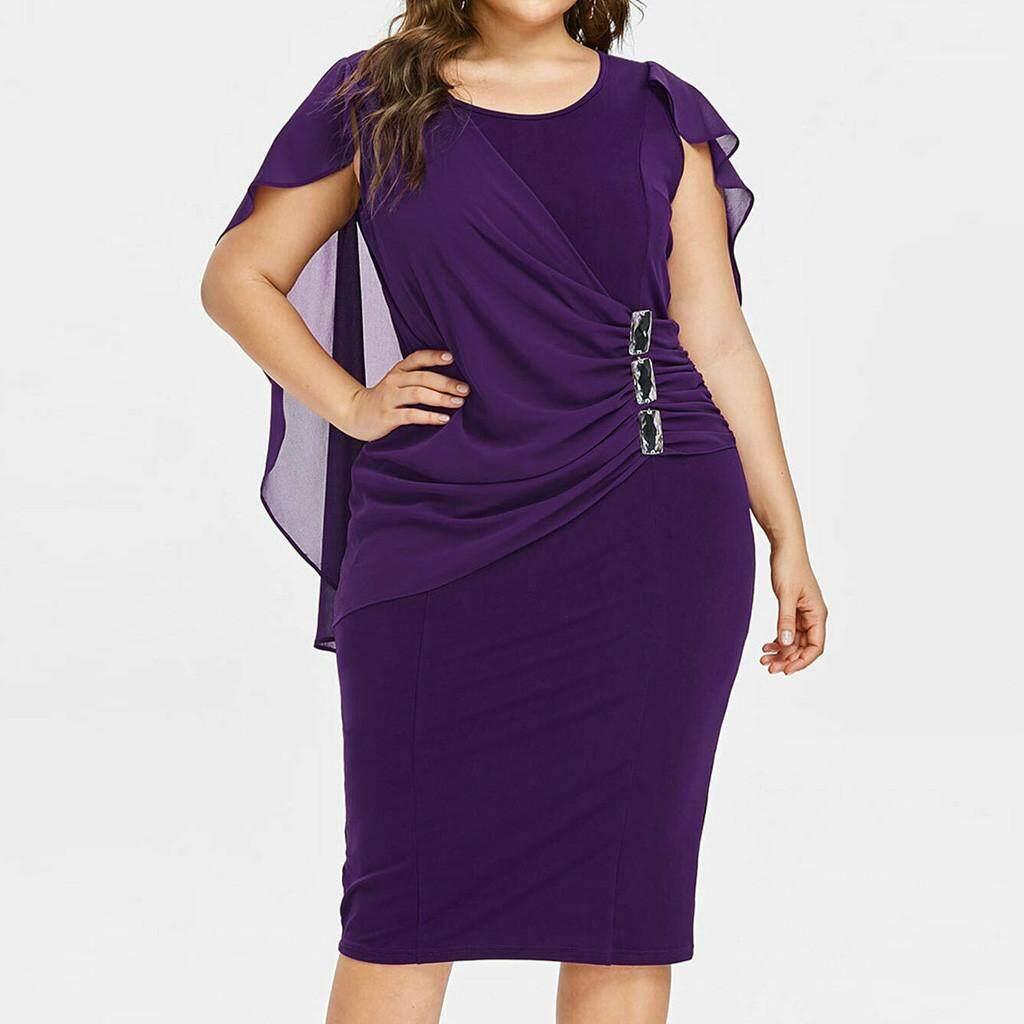 fa4a89940ce8a3 Fashion Women Casual Chiffon Plus Size Solid O-Neck Sleeveless Loose Dress