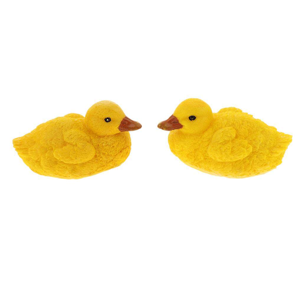 BolehDeals 2 Pieces Simulation Floating Resin Yellow Duck Figurine Craft Garden Decor