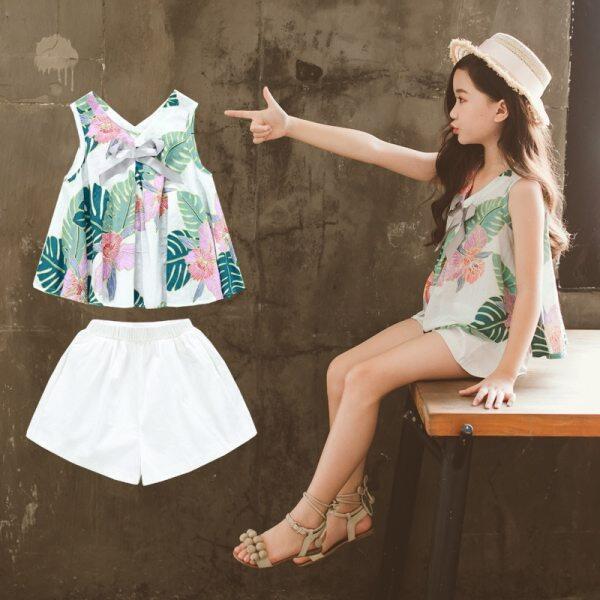 Giá bán Trang phục bé gái mùa hè thời trang quần áo trẻ em Bộ 2 chiếc áo bé gái không tay + quần short Bộ quần áo trẻ em công chúa