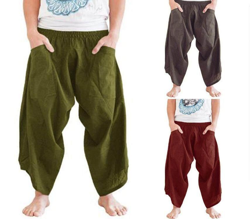 Adult Men Medieval Renaissance Lounge Pirate Horseman Costume Loose Pants Viking Black Brown Navigator Leg Bandage Trouser 5XL on