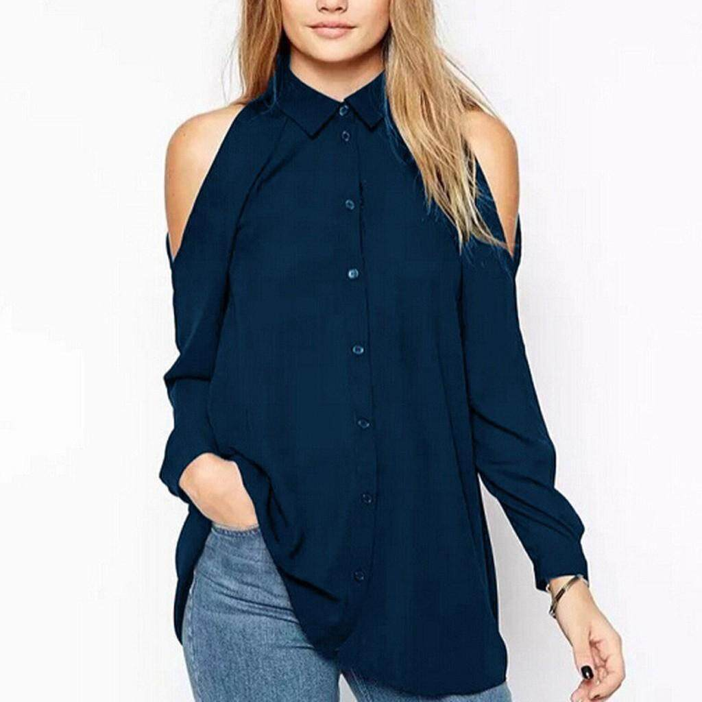 Chic Lady Off-Shoulder Casual Floral Long Sleeve Shirt Blouse Loose T-shirt Top