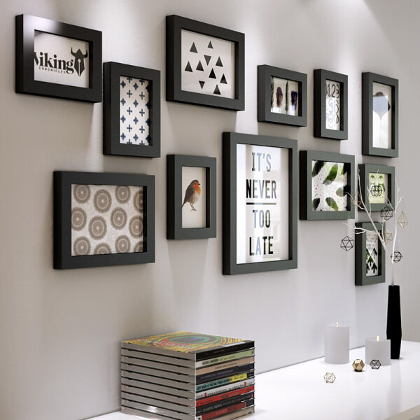 12 photo frames combination DIY Solid wood Black White photo frame creative home photo wall / photo frame wall / with pictures
