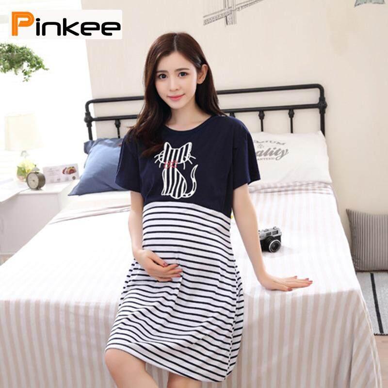 16d035898df Pinkee Summer Pregnant Women Nursing Dress Short Sleeve Striped Patchwork  Casual Maternity Dresses