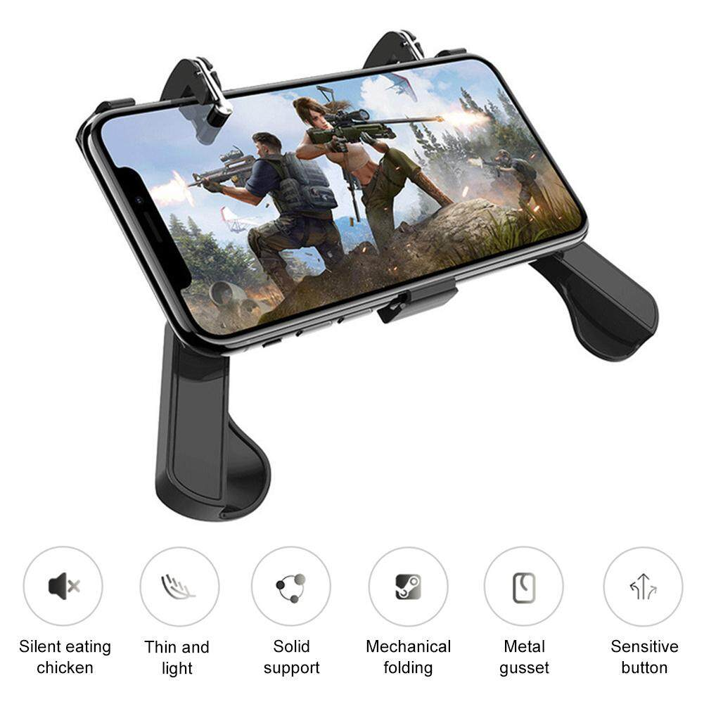 H8 PUGB Helper Mobile Phone Case Metal Shooting Button Peace Elite Game Controller PUGB Mobile Controller Joystick Gamepad for IOS Android