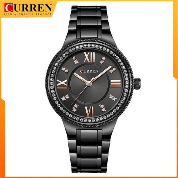 CURREN Brand Luxury Womens Casual Watches Waterproof Wristwatch Women Fashion Dress Rhinestone Stainless Steel Ladies Clock 9004 Malaysia