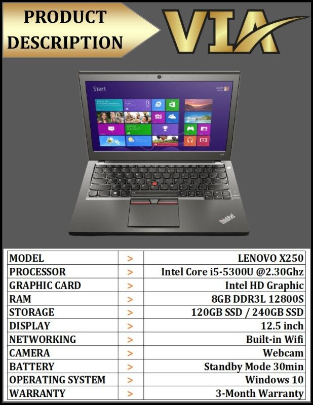 【READY STOCK】LENOVO X250 ULTRABOOK~Core i5~5th Gen~8GB DDR3L~120GB SSD / 240GB SSD~HDD~W10~WEBCAM Malaysia