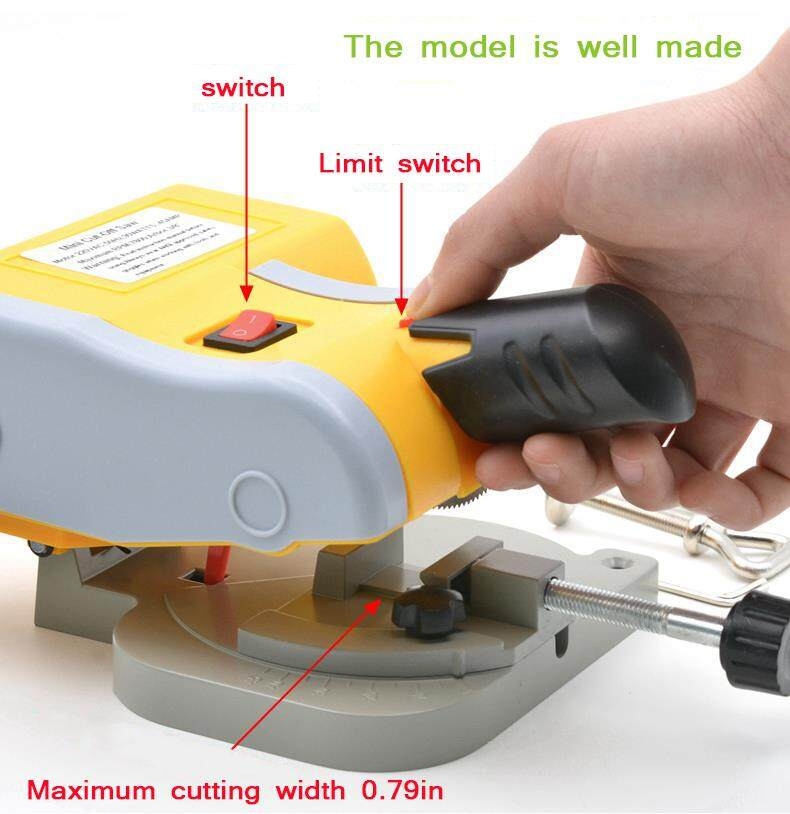 220V Table Cutting Machine Bench Mini Cut-off 0-45 Miter Saw Steel Blade 3/8 Model Making DIY Manual Cutting  Machine