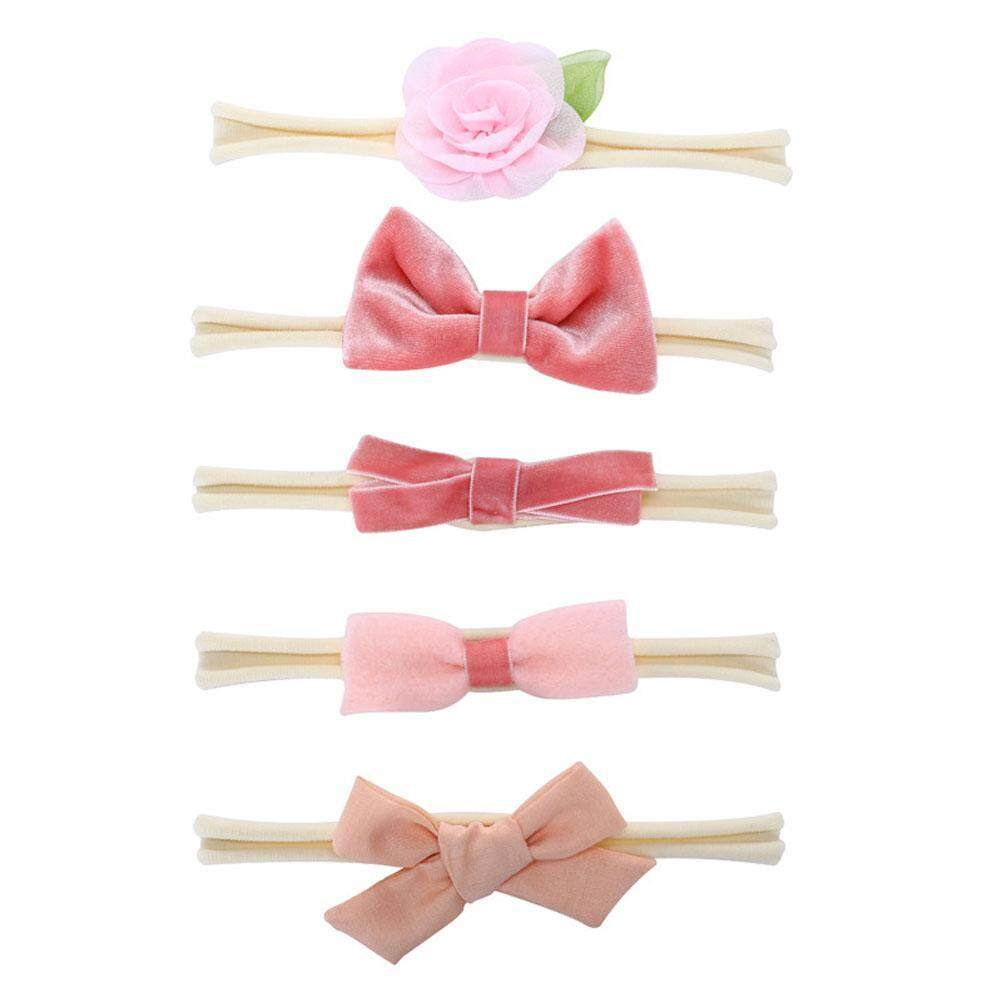 cb045f3c20e EterSummer 5pcs Kids Elastic Floral Headband Handmade Cute Ribbon Baby Hair  Clips Hairband Set