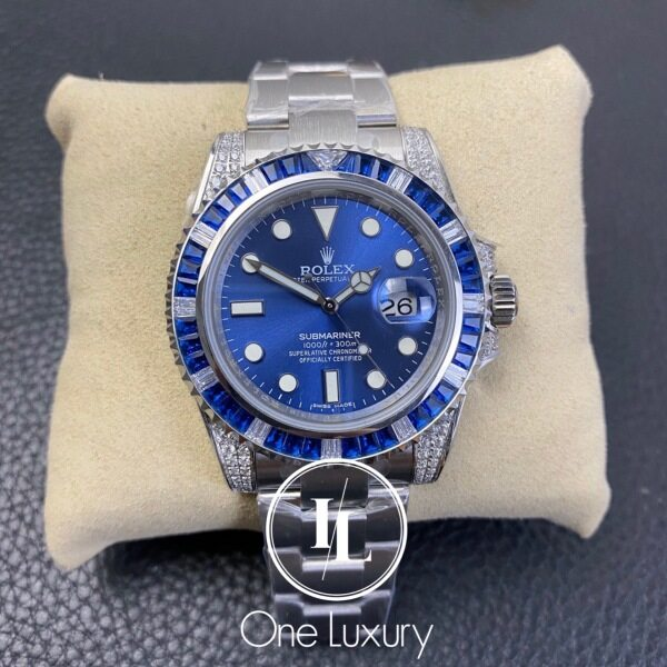 [ONE LUXURY] SUBMARINER DATE BLUE DIAL DIAMOND SAPPHIRES 18K WHITE GOLD 116659SABR Malaysia