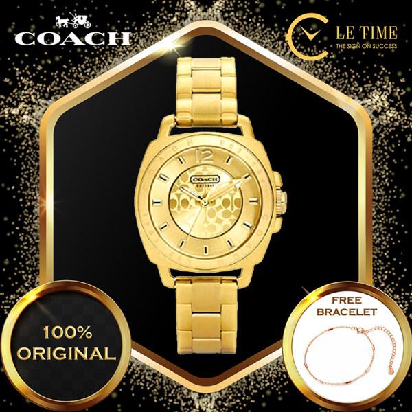 [Authentic *FREE BRACELET*] Coach Mini Boyfriend Gold Bracelet Ladies Women Watches Jam Tangan Wanita 14501534 Malaysia