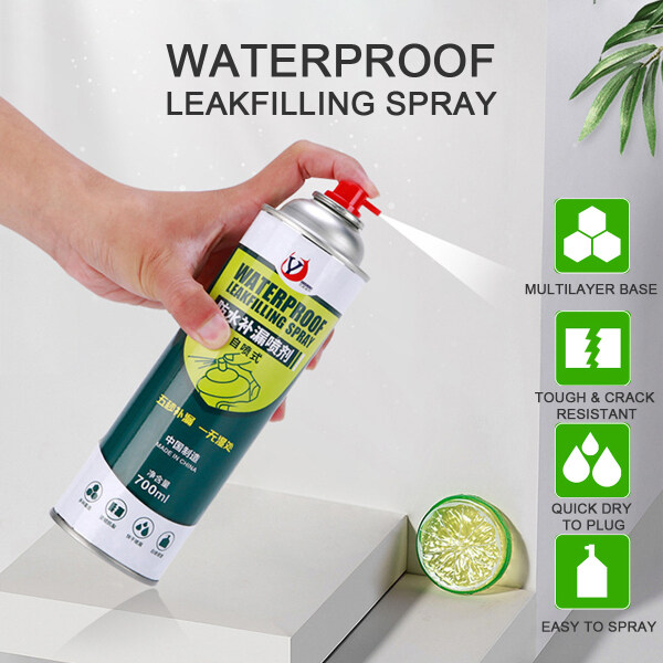 700ml High Capacity Leak Sealer Spray Fast Accurate Waterproof Leakfilling Self-spraying Building Base Waterproof Treatment Pipes Lofts Gutter/Down Pipes Shed Roofs Crack Leaking Sealant Spray (Black/ White/ Transparent)