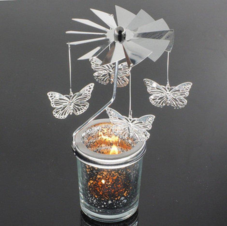 ELEC Butterfly Shape Romantic Rotation Candlestick Starry Sky Candle Holders