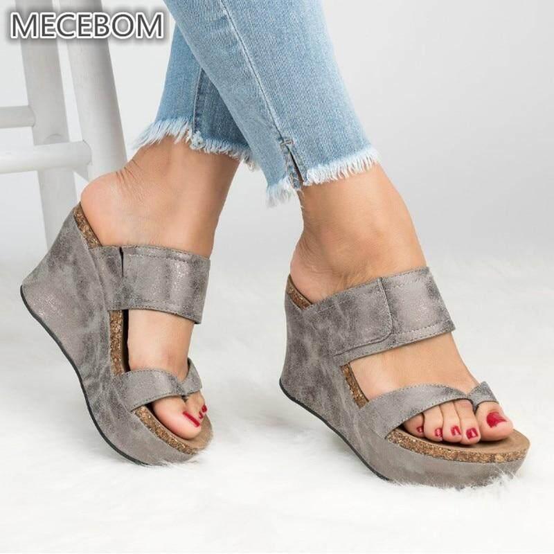 9f7a689d7 Summer Women slippers Leather Wedges Open Toe Shoes High Heels Beach Ladies  Shoes flip flops Platform